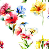 Watercolor illustration of wild flowers Royalty Free Stock Photo