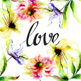 Watercolor illustration with wild flowers Stock Photo