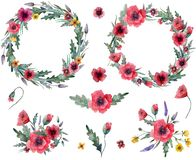 Wild flowers wreath royalty free illustration