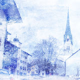 Watercolor illustration of winter cityscape Stock Photography