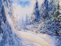 Winter landscape watercolor painted Royalty Free Stock Image