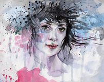 Watercolor illustration of a woman royalty free illustration