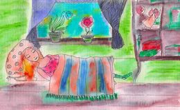 Watercolor illustration of a sleeping woman in the room. Watercolor illustration of a woman sleeping under the striped blanket in the room Royalty Free Stock Photos