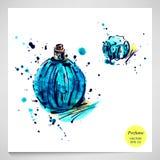 Watercolor illustration of women's perfume. Fashion illustration Royalty Free Illustration