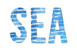 Watercolor illustration of word `SEA`. vector illustration