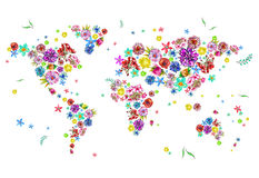 Watercolor illustration of world map in flowers Royalty Free Stock Photography