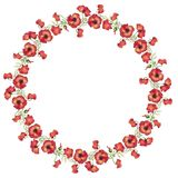 Watercolor illustration, a wreath circle of red poppies, a bouquet of flowers, buds and leaves royalty free illustration