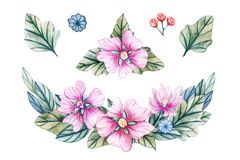 Watercolor illustration with wreath of wild flowers stock illustration