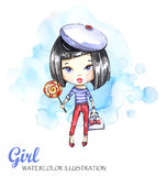 Watercolor illustration young girl with bag and lollipop. Adventure, vacation. Can be printed on T-shirts, bags, posters Royalty Free Stock Images