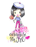 Watercolor illustration young girl with bag and lollipop. Calligraphy words . Adventure, vacation. Can be printed on T Stock Photography