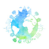 Watercolor illustrations of concept earth  icons of ecology, Royalty Free Stock Image