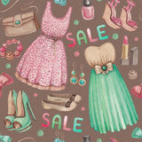 Watercolor illustrations of dresses and access Royalty Free Stock Photo