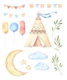 Watercolor illustrations - Kids tent, moon and stars, balloons, stock illustration