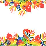 Watercolor illustrations a rectangular frame tropical leaves of the rainbow colors of flamingo stock photography