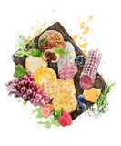 Watercolor Image Of  Appetizers Stock Images