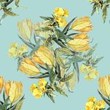 Watercolor bouquet yellow tulips on a blue background. Watercolor image blue background bouquet flowers  handmade  seamless pattern Stock Images