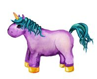 Watercolor purple unicorn Royalty Free Stock Image