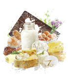 Watercolor Image Of Dairy Products. Watercolor Digital Painting Of Dairy Products Royalty Free Stock Photography