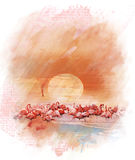 Watercolor Image Of  Flamingos Stock Images