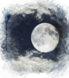 Watercolor Image Of  Full Moon Stock Photo