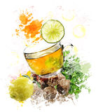 Watercolor Image Of Green Tea Royalty Free Stock Images