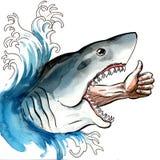 Optimist in the shark jaws stock illustration
