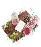 Watercolor Image Of  Hard Salami,Herbs and Spices Royalty Free Stock Images