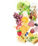 Watercolor Image Of  Healthy Snacks Stock Photography