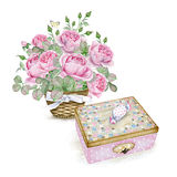 Watercolor image of little box and roses Royalty Free Stock Photography