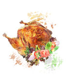 Watercolor Image Of  Roasted Turkey Royalty Free Stock Images