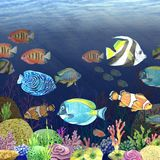 Watercolor image of the sea bottom. Undersea world. Bright illustration of tropical fish handmade. Hand Painted Royalty Free Stock Photo