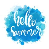 Lettering Hello Summer. Watercolor imitation blue sea background with Lettering Hello Summer. Vector Illustration for web and print royalty free illustration