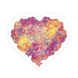 Watercolor imitation or oil paints. Template of greeting card for Valentine's day. Abstract heart with handwritten inscription. Watercolor imitation or oil stock illustration