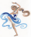 Watercolor indian dancer Royalty Free Stock Photos
