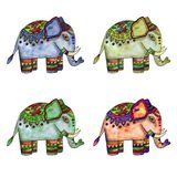 Watercolor Indian elephants royalty free illustration