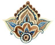 Watercolor indian ornament Stock Photos