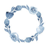Watercolor indigo floral wreath with twig, flowers, branch and abstract leaves