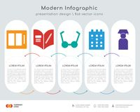 Watercolor infographics design. Infographics design  and Watercolor, Homework, Bell, Calendar, Graduate icons can be used for workflow layout, diagram, annual Stock Image