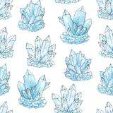 Watercolor and ink blue cluster crystals seamless pattern on the. White background. Hand painted aquamarine minerals and gemstones illustration Royalty Free Illustration