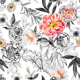 Watercolor and ink doodle flowers, leaves, weeds seamless pattern. Royalty Free Stock Image