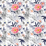Watercolor and ink doodle flowers, leaves, weeds seamless pattern. Stock Images