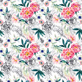 Watercolor and ink doodle flowers, leaves, weeds seamless pattern. Royalty Free Stock Photo