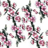 Watercolor ink flowering cherry, plum or sakura - seamless pattern vector illustration