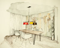 Dining room. Watercolor and ink freehand sketch of dining room with table and chairs vector illustration