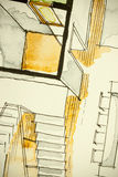 Watercolor ink freehand sketch drawing of partial house floor plan as aquarelle painting showing stairs climbing Royalty Free Stock Photos