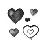 Watercolor ink grunge black hearts set Royalty Free Stock Photography