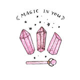 Watercolor and ink hand painted pink crystals and wand  Royalty Free Stock Photos