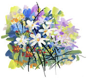 Watercolor and ink illustration of blossoming flowers. Royalty Free Stock Image