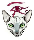 Sphinx cat and Horus god. Watercolor and ink illustration of a hairless cat and Horus god symbol Stock Images