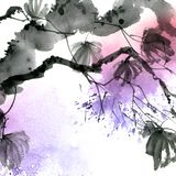 Watercolor and ink painted maple tree with watersplash Stock Illustration